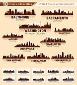 City skyline set. USA. Vector silhouette background illustration.
