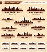 City skyline set. USA. Vector silhouette background illustration.