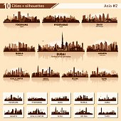 City skyline set. Asia. Vector silhouette background illustration.