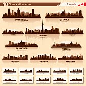 City skyline set. Canada. Vector silhouette background illustration.