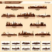 City skyline set. Europe. Vector silhouette illustration.