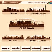 City skyline set. South Africa. Vector silhouette background illustration.