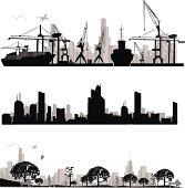 Vector illustration.Modern city silhouette.