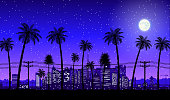 City skyline silhouette at dusk. Skyscappers, towers, office and residental buildings. Cityscape under night sky, moon and palm tree. Vector illustration