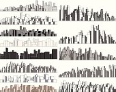 Set of editable vector simple 3-dimensional city skylines. Hi-res jpeg file included.
