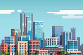 City downtown with skyscrapers, business buildings, clouds, blue sky. City center downtown cityscape view. Big city buildings. Town real estate scenery clipart. Flat vector illustration isolated on ba