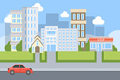 City street illustration with different buildings and car.