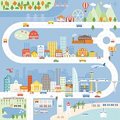 City, Town, Village info graphic and other elements such as constructor, sign post, vehicle, transportation and tree