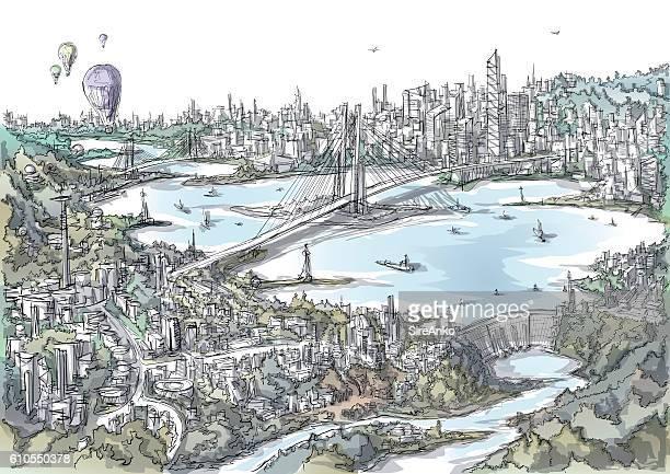 Illustrations et dessins anim s de horizon getty images for Agence horizon paysage