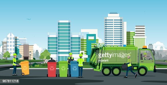 City waste trucks : stock vector