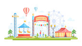 City with amusement park - modern flat design style vector illustration on urban background. Lovely view with attractions, merry-go-round, chapiteau, drop tower, big wheel. Entertainment concept