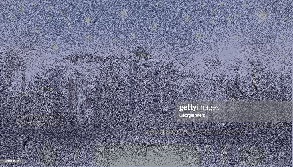 Cityscape At Night Etching : Vector Art