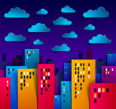 Cityscape in the night with clouds in the sky cartoon vector illustration in paper cut kids application style, high city buildings real property houses midnight time.