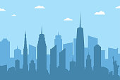 Cityscape silhouette background. Abstract city skyline with skyscrapers and clouds on blue background. Vector