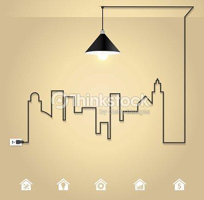 Cityscape With Creative Wire Light Bulb Idea Concept Vector Art