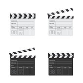 Clapper board black and white illustration