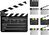 Clapper board set. Realistic vector illustration.