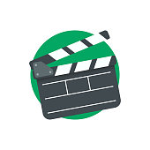 Clapper board vector icon