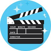 Black open clapperboard on blue background. Movie clapper board. Movie logo. Flat vector cartoon illustration.