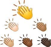 Clapping hands sign emoji set of various skin tones