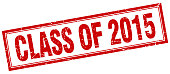 class of 2015 red square grunge stamp on white