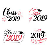 Class of 2019 card vector illustration design