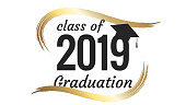 Class of 2019 graduation text design for cards, invitations or banner