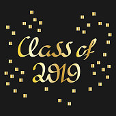Class of 2019. Vector illustration. Hand drawn brush lettering, calligraphy.