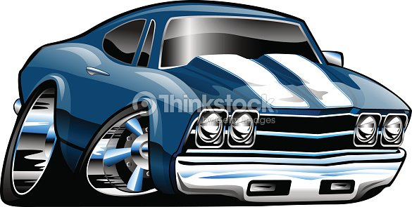 Classic American Muscle Car Cartoon Illustration Vector Art Thinkstock