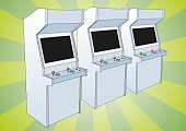 Classic arcade game machine for two players. Retro styled electronic game with two sticks or joysticks.