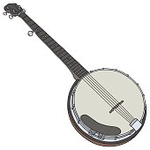 Hand drawing of a classic five string banjo