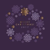 Classic Christmas snowflakes elegant card or header. Violet purple color background with snow. pattern vector illustration. geometry modern motif