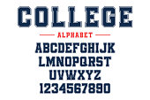 Classic college font. Vintage sport font in american style for football, baseball or basketball t-shirts. Athletic department typeface, varsity style font. Vector