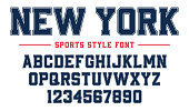 Classic college font. Vintage sport serif font in american style for football, soccer, baseball and basketball. Alphabet and numbers with outline in varsity style