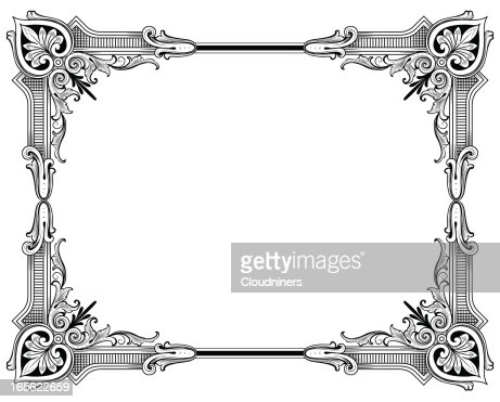 classic corners hand engraved frame vector art