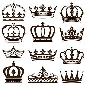 Set of crowns vector illustration. Saved in EPS 8 file. All elements are separated, well constructed for easy editing. Hi-res jpeg file included (5000x5000).