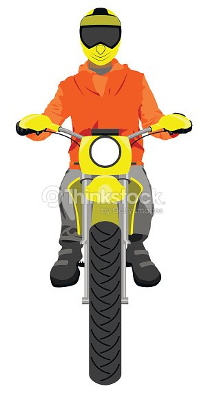 Classic enduro motorcycle with sitting rider front view graffiti street art style color vector illustration