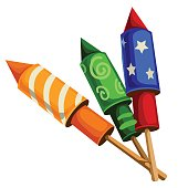 Classic festive firecrackers rockets with confetti, vector illustration isolated
