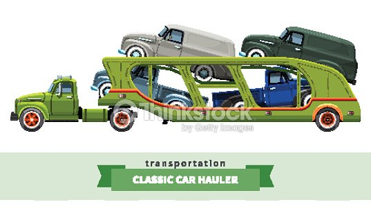 Classic Medium Duty Car Carrier Truck Side View Vector Art