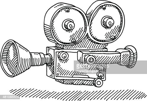 Hand-drawn vector drawing of a Classic Movie Camera. Black-and-White ...