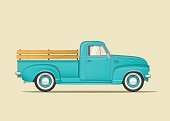 Classic American Pickup Truck. Side View. Flat styled vector illustration.