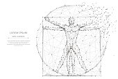 classic proportion man low poly wireframe. Abstract mash line and point origami on white background with an inscription. Starry sky or space, consisting of stars and the universe. Vector illustration