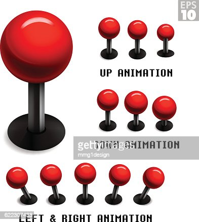 Classic red arcade game joystick with animated stills movements. : Vector Art