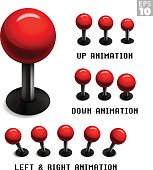 Classic red arcade game joystick with animated stills in up, down, left and right movements.