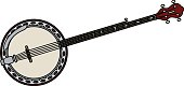 Hand drawing of a classic red five string banjo