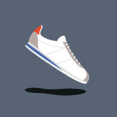Classic running shoes vector illustration. Original sneakers
