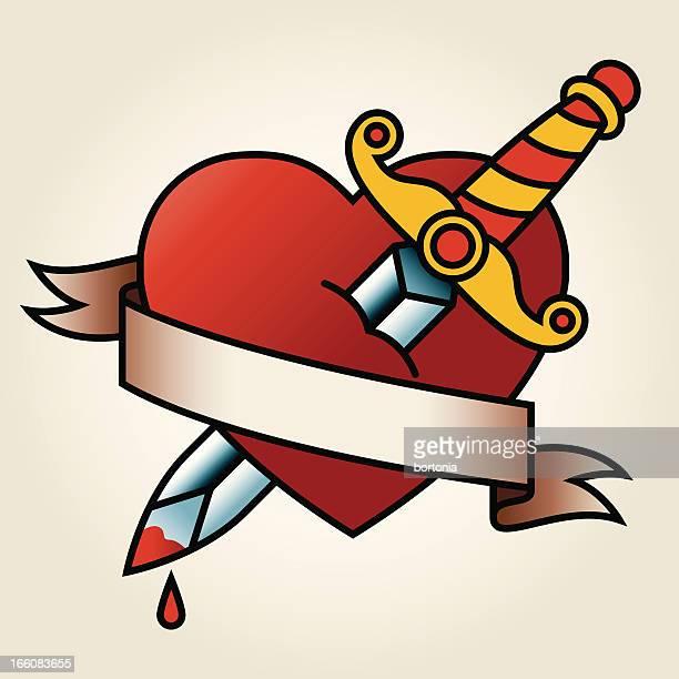 Clásico marino-tatuaje estilo corazón sangriento y puñal