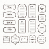 Classic vintage frames set. Vector borders isolate on white. Collection of vintage decoration frame for menu design illustration