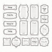 Classic vintage frames set. Vector borders isolate on white. Collection of vintage decoration frame for menu design illustration