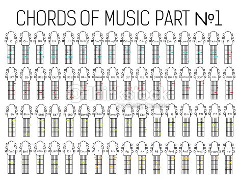 Classical Basic Guitar Chords Graphic Of Music Set Part